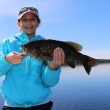 Madeline Conti Mica with a trophy Lac Seul Smallmouth Bass